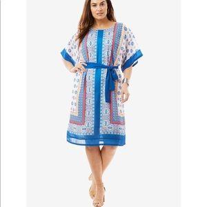 Dresses & Skirts - Beautiful Belted Blue Patterned Shirt Dress
